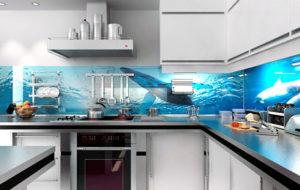 Фартук стеклянный кухня дельфины