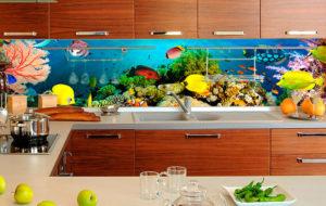 Фартук стеклянный кухня море