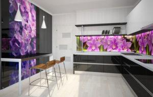 Фартук стеклянный кухня цветы