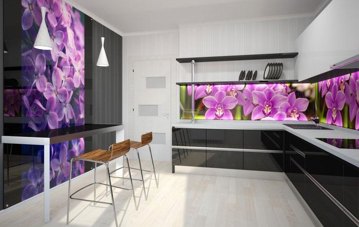 Фото фартука для кухни цветы