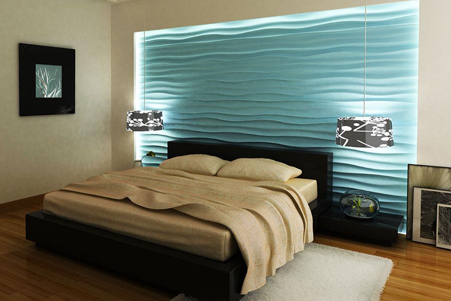 Интерьер спальни с гипсовыми панелями